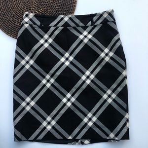 Talbots Skirt Black Cream Plaid Pencil Straight 6P